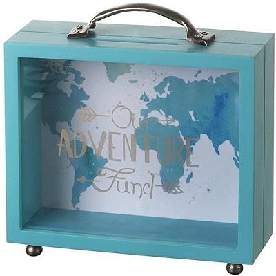 Hucha en forma de maleta madera verde azulada