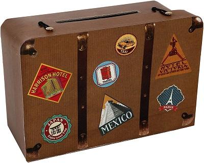 Santex 4856 25 Hucha 24 x 16 x 10 cm diseno con Forma de Maleta de Viaje carton