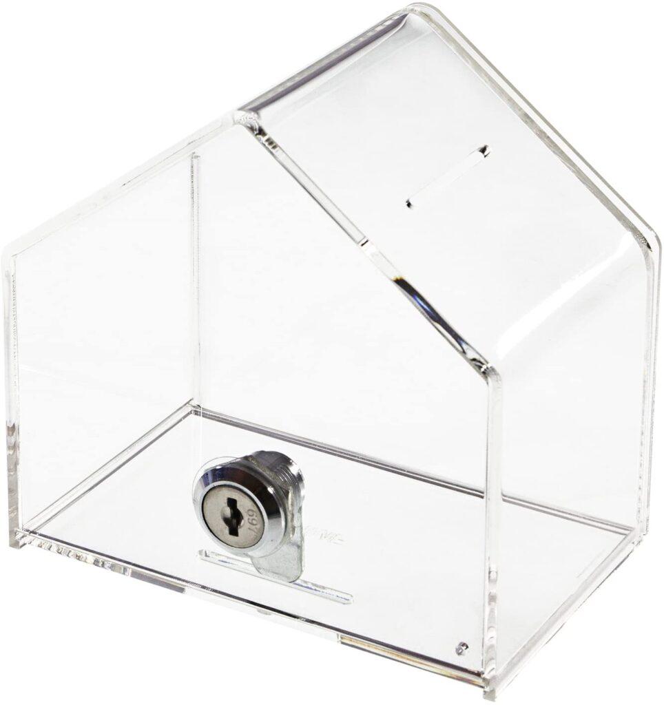Hucha transparente con forma de casita