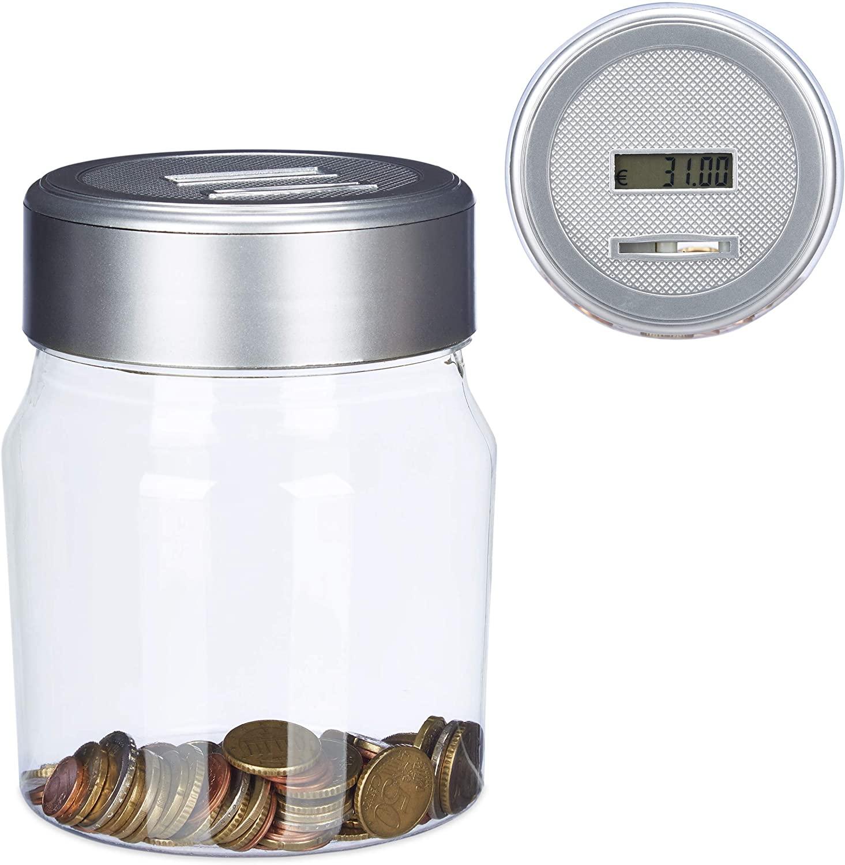 Hucha transparente cuenta monedas